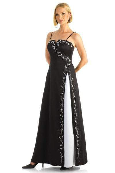 Alexia Designs - 2110 Surplice Embroidery Trimmed Two-Toned Dress from Alexia Designs