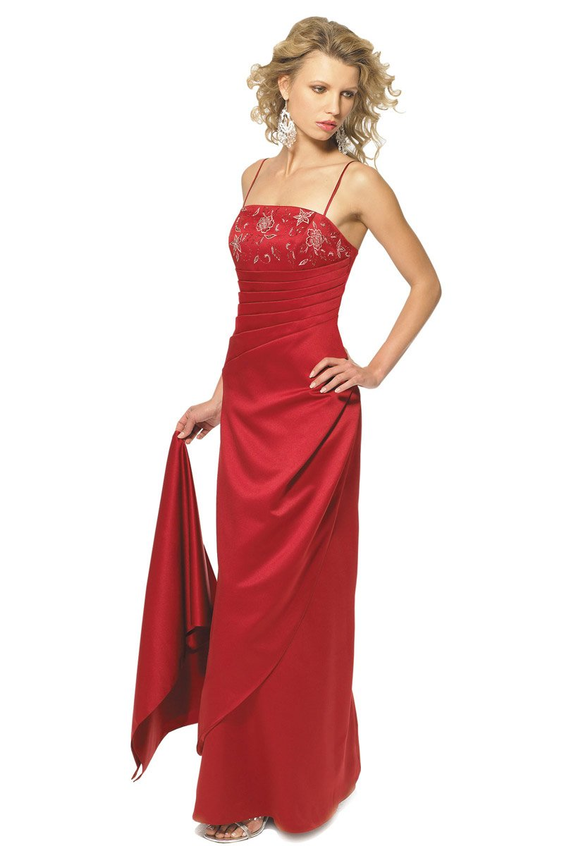 Alexia Designs - 2606 Embroidered Matte Satin Sheath Dress from Alexia Designs