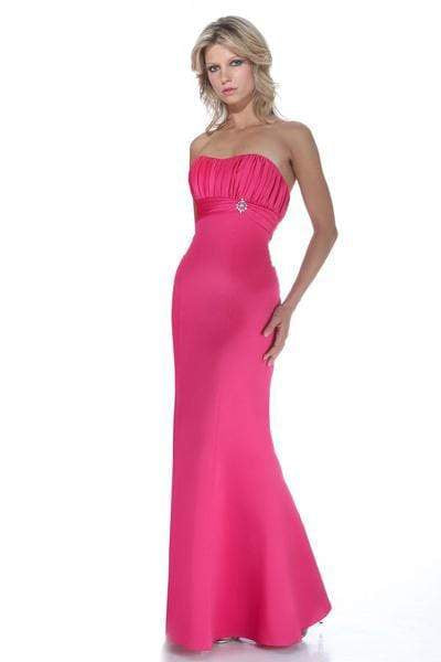 Alexia Designs - 2944 Strapless Pleated Bust Brooch Accented Dress from Alexia Designs