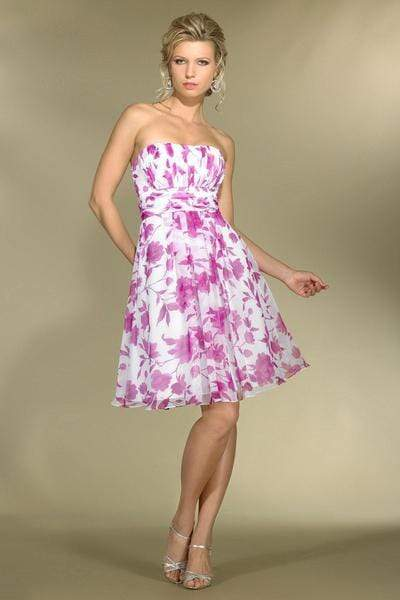 Alexia Designs - 2972 Strapless Floral Print A-Line Dress from Alexia Designs