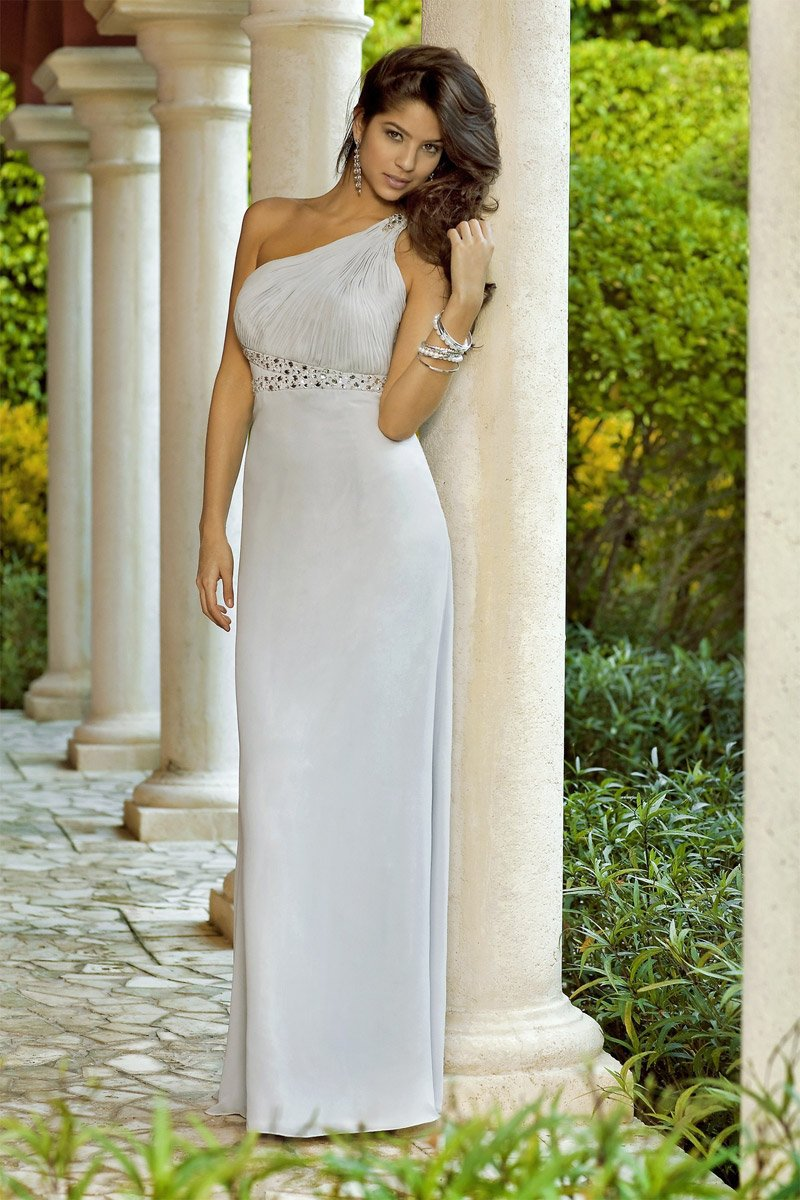 Alexia Designs - 4070 Embellished Pleated One Shoulder Sheath Gown from Alexia Designs