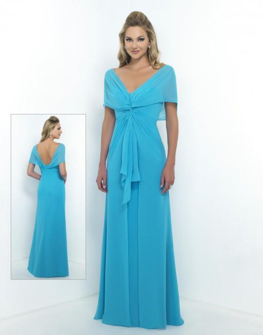 Alexia Designs - 4186 Chiffon V-neck Twisted Front A-line Dress from Alexia Designs