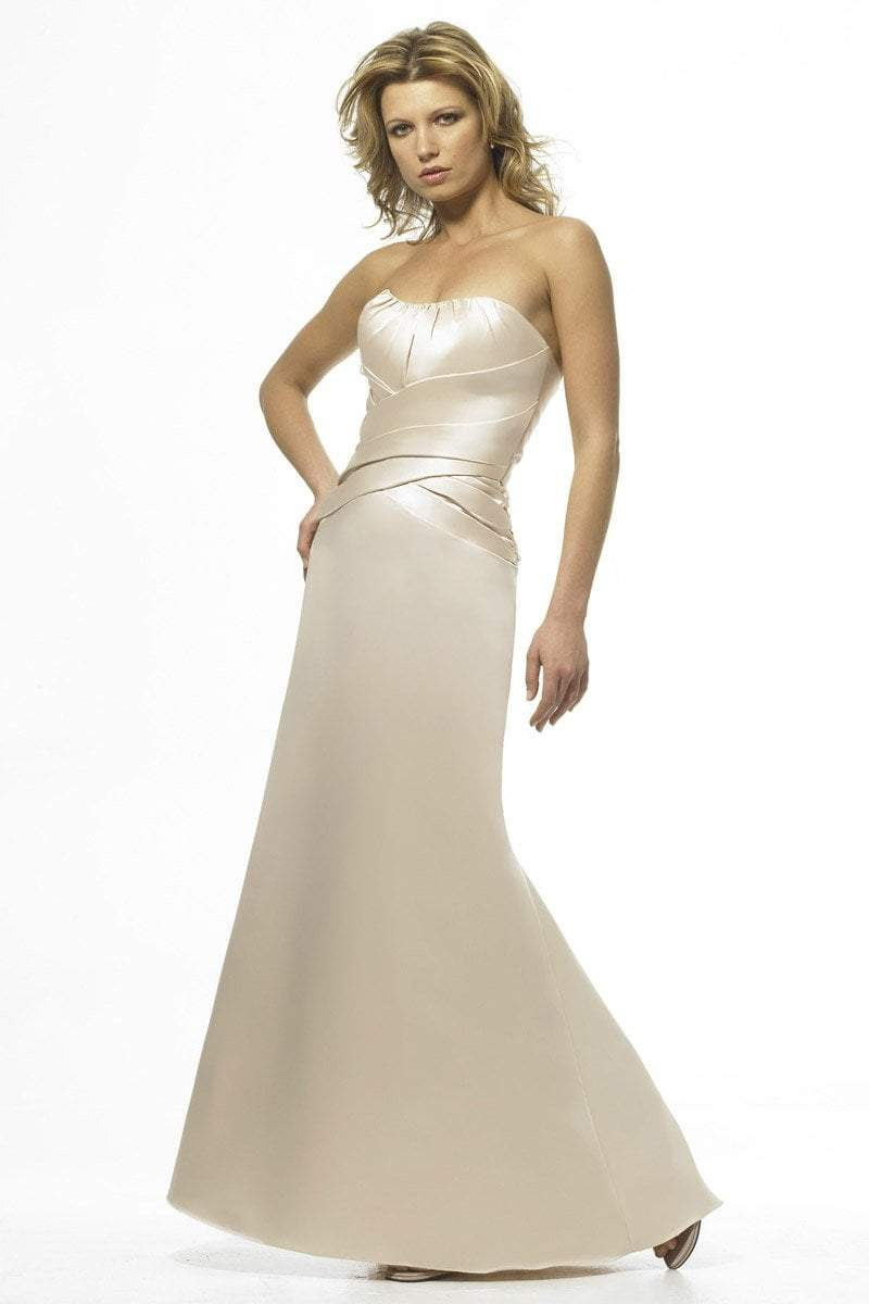 Alexia Designs - 848 Strapless Pleated Ornate Satin Gown from Alexia Designs
