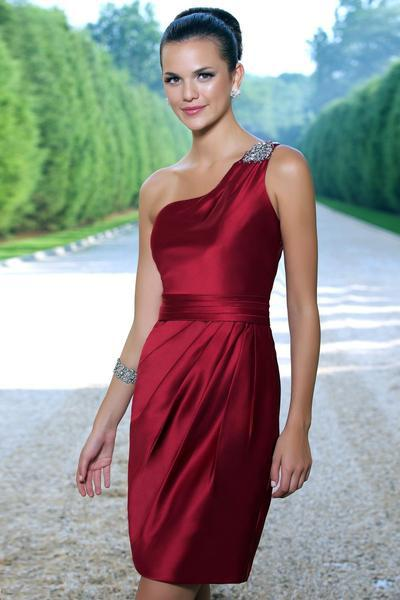 Alexia Designs - 936 One Shoulder Strap Pleated Dress from Alexia Designs