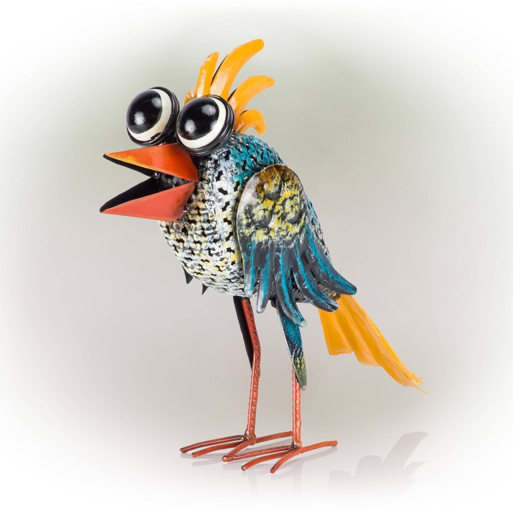 "Alpine 12"" Quirky Metal Wide-Eyed Bird Decor Blue from Alpine Corporation"