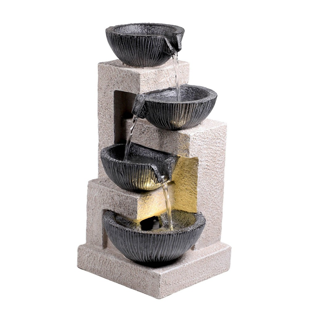 "Alpine 14"" Cascading Bowl Tabletop Fountain with LED Lights Gray from Alpine Corporation"