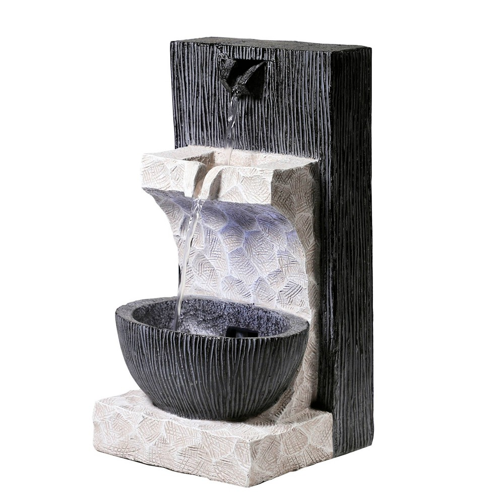 "Alpine 14"" Modern Cascading Tabletop Fountain with LED Lights Gray from Alpine Corporation"