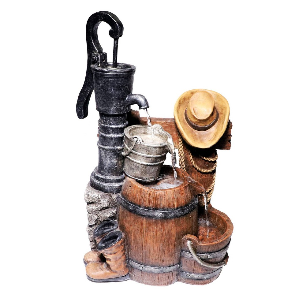 "Alpine 26"" Pump and Barrel Fountain with Cowboy Hat from Alpine Corporation"