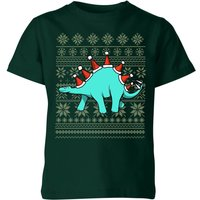 Stegosantahats Kids' T-Shirt - Forest Green - 9-10 Years - Forest Green from The Christmas Collection