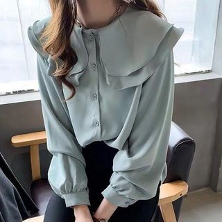 Layered Collar Chiffon Blouse from Althino
