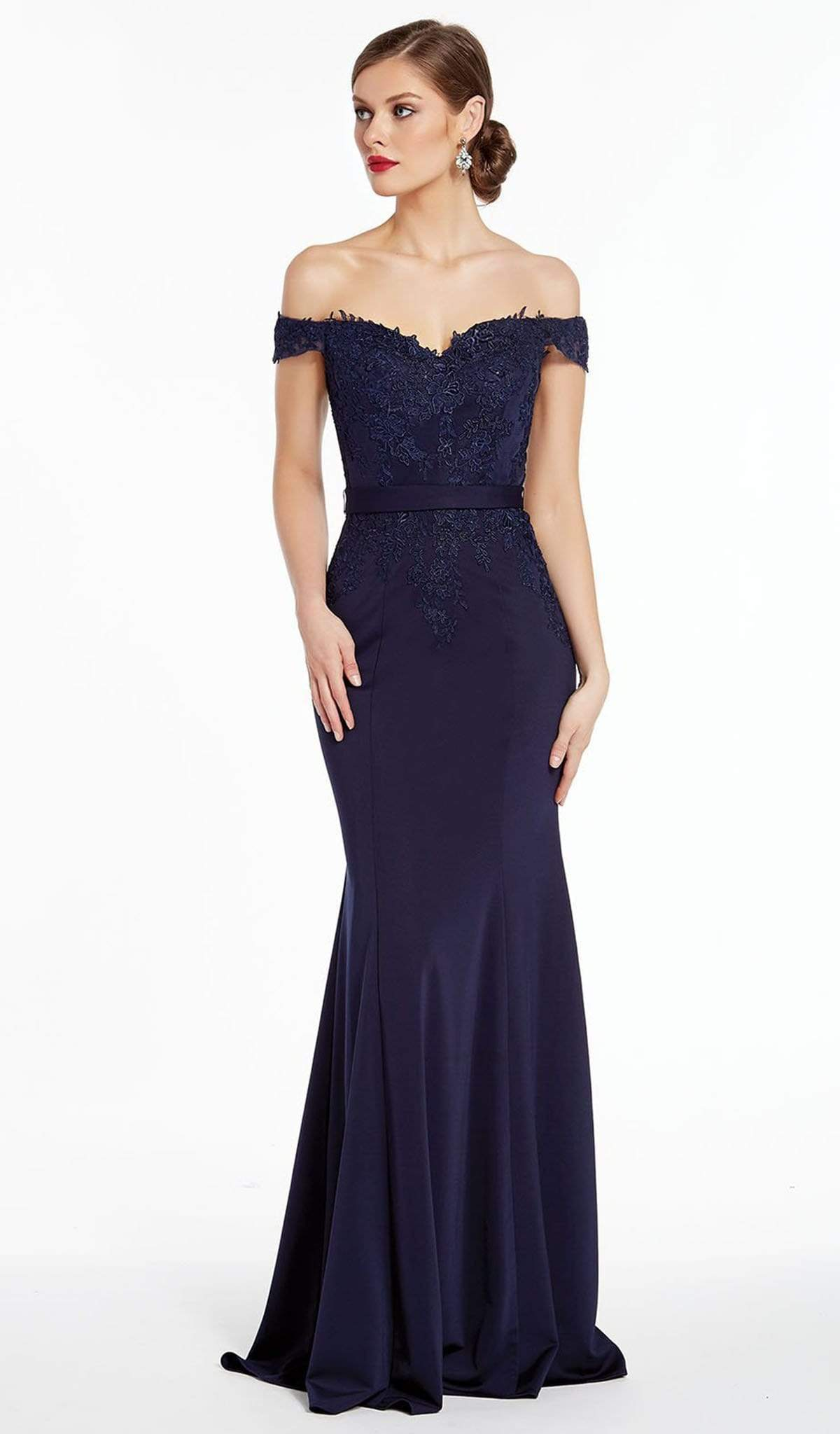 Alyce Paris - 27309 Off Shoulder Trailing Lace Sheath Gown from Alyce Paris