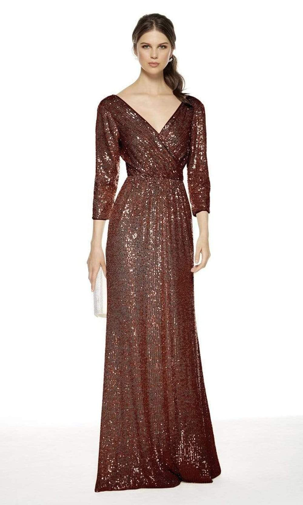 Alyce Paris - 27358 Three-Fourth Sequined All Over Column Dress from Alyce Paris