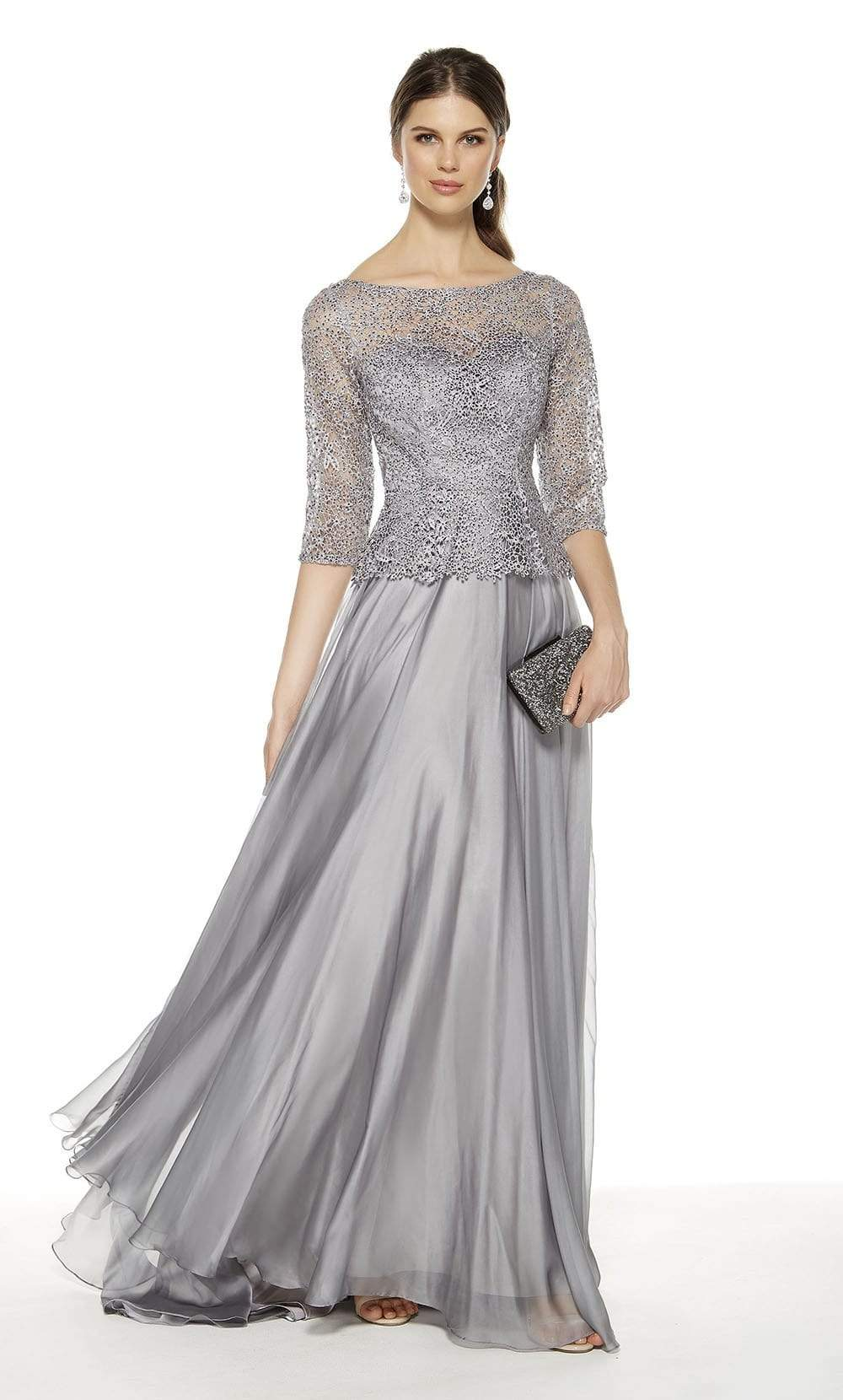 Alyce Paris - 27386 Quarter-Length Lace Sleeve Long Sheath Dress from Alyce Paris