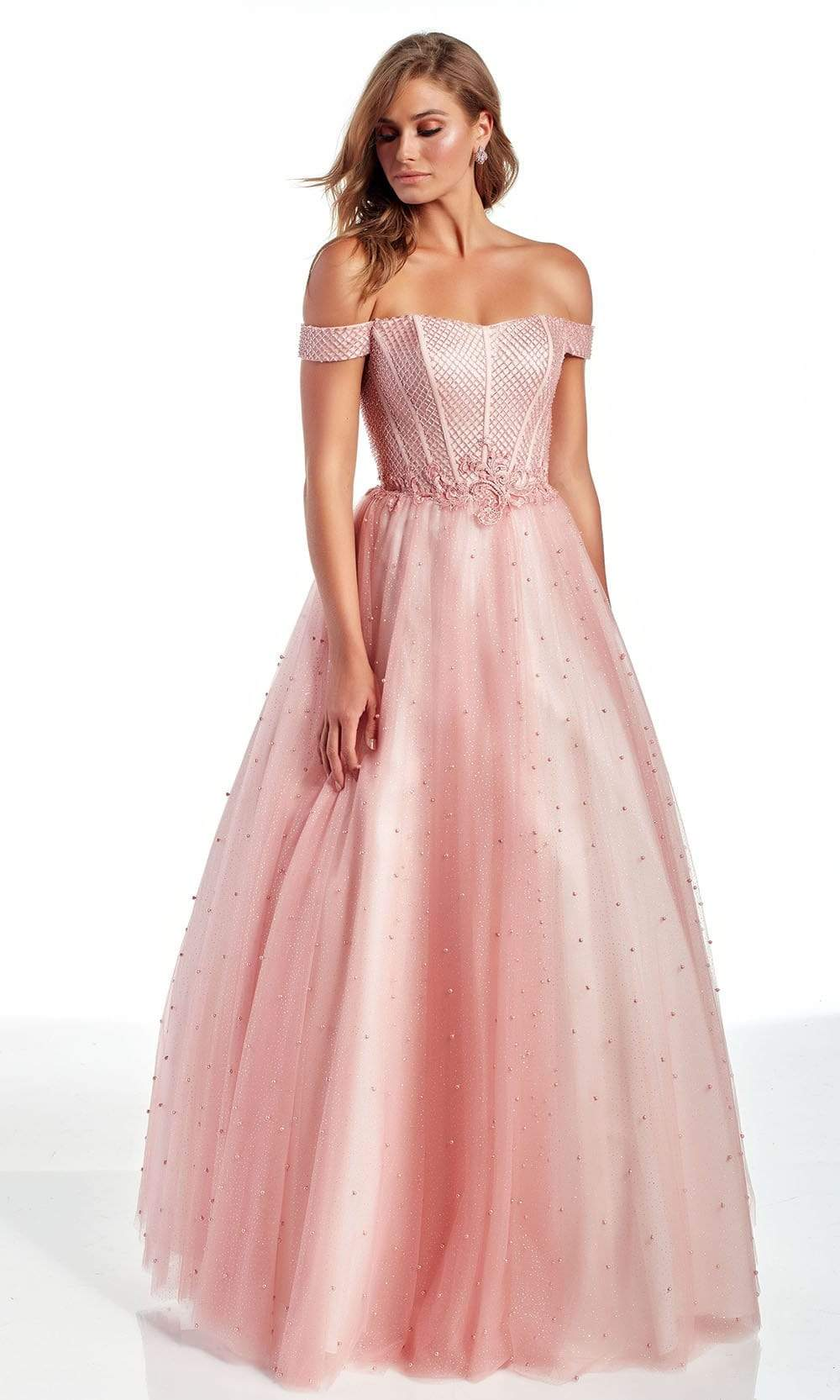 Alyce Paris - 60899 Off Shoulder Bodice Beaded Tulle A-Line Gown from Alyce Paris