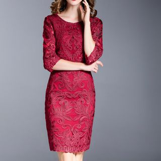 3/4-Sleeve Floral Embroidered Cocktail Dress from Ameous