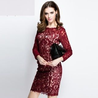 3/4-Sleeve Lace Dress from Ameous