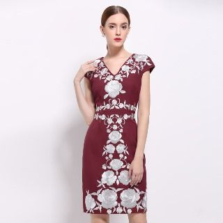 Cap-Sleeve Embroidery Sheath Dress from Ameous