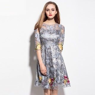 Elbow-Sleeve Embroidered A-Line Dress from Ameous