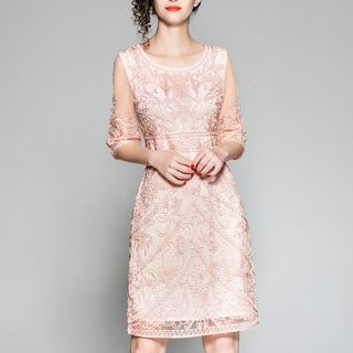 Embroidered 3/4-Sleeve A-Line Dress from Ameous