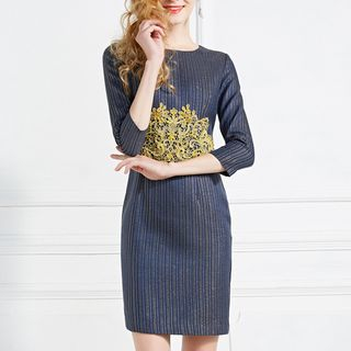 Embroidered 3/4-Sleeve Sheath Dress from Ameous