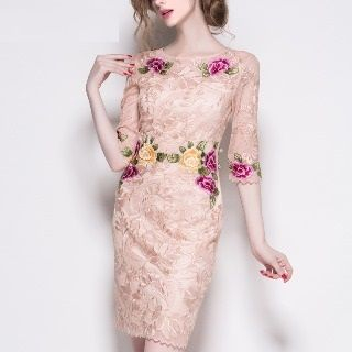 Embroidered Lace Sheath Dress from Ameous