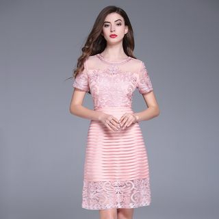 Embroidered Short-Sleeve A-Line Dress from Ameous