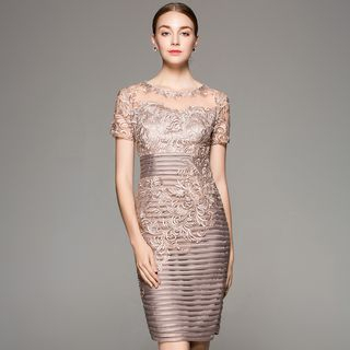 Embroidered Short-Sleeve Sheath Dress from Ameous