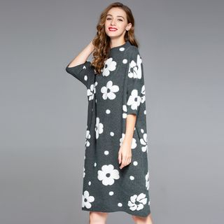 Flower Pattern 3/4-Sleeve Knit Dress from Ameous