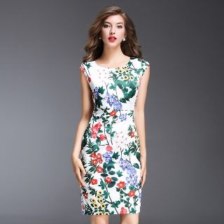 Flower Printed Sheath Dress from Ameous