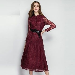 Long-Sleeve Buttoned Dress from Ameous
