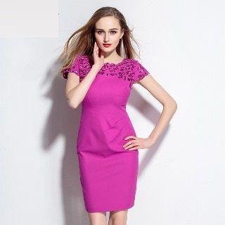 Short-Sleeve Cutout Embroidered Dress from Ameous