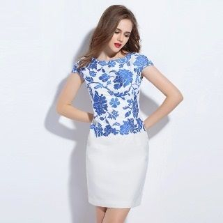 Short-Sleeve Embroidered Dress from Ameous