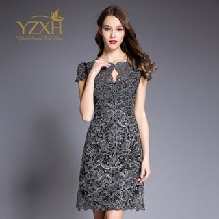 Short-Sleeve Lace Cutout Dress from Ameous