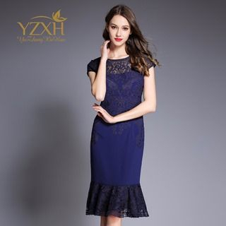 Short-Sleeve Lace-Panel Dress from Ameous