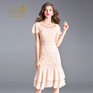 Short-Sleeve Lace Ruffled Dress from Ameous