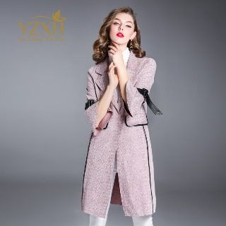 Single-Button Contrast Trim Belted Coat from Ameous