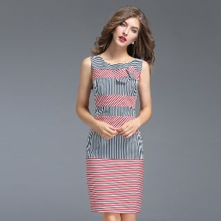 Striped Panel Sheath Dress from Ameous