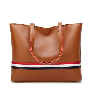 Faux-Leather Striped Trim Tote from Annmuu