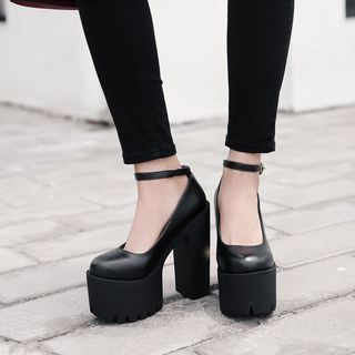 Ankle Strap Platform Block Heel Pumps from Anran