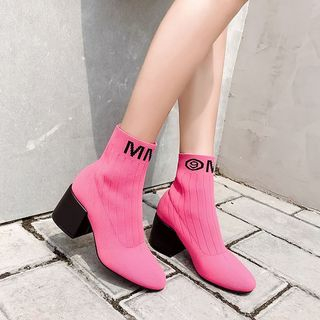 Block Heel Knit Boots from Anran