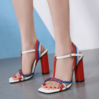 Color Block T-Strap Chunky-Heel Sandals from Anran