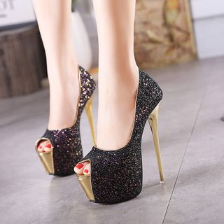 Peep Toe Sequined Pumps from Anran