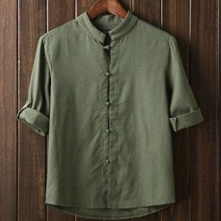 Frog Button Tab-Sleeve Shirt from Aozora