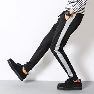 Contrast Trim Baggy Pants from Aozora