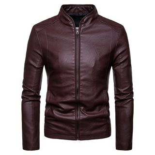 Embossed Faux Leather Zip Jacket from Aozora