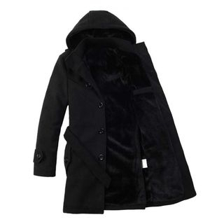 Hooded Button Woolen Coat from Aozora
