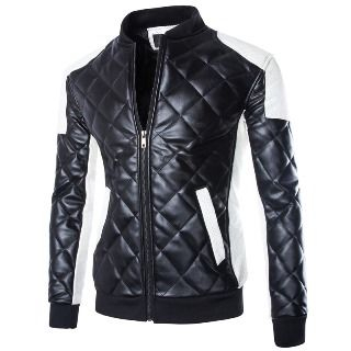 Quilted Panel Biker Jacket from Aozora