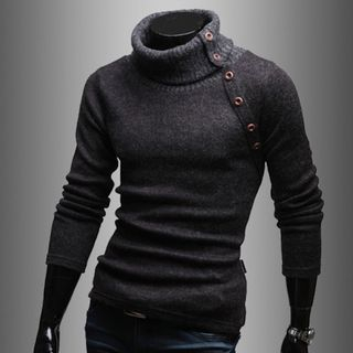 Turtleneck Buttoned Sweater from Aozora