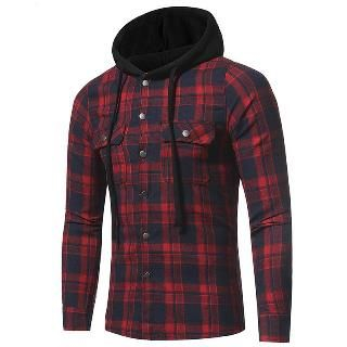 Twill Plaid Hooded Shirt from Aozora