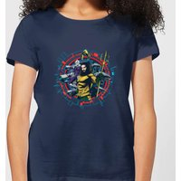 Aquaman Circular Portrait Women's T-Shirt - Navy - XXL - Navy from Aquaman